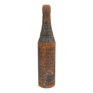 1870 Antique Folk Art Carved Wood Bottle For Sale