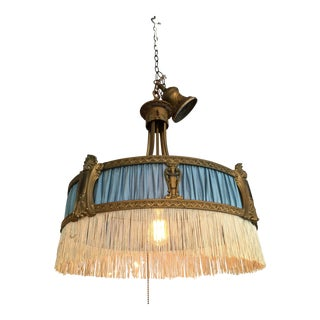 Blue Cloth and Metal Fringed Chandelier
