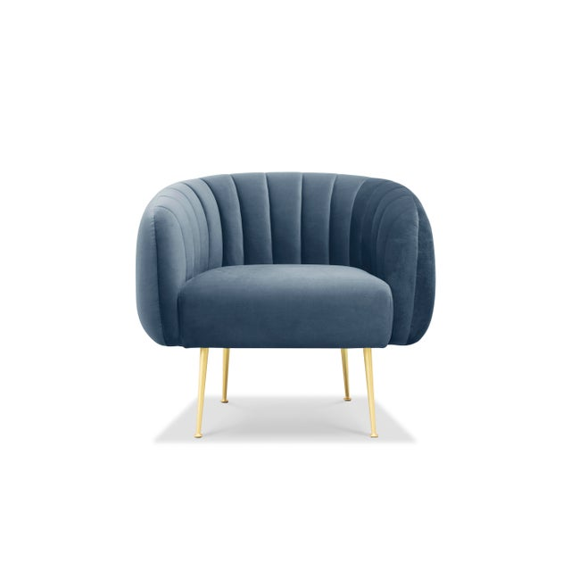 Channeled Side Chair in Dust Blue For Sale - Image 4 of 6