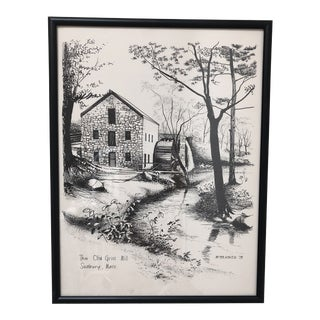 1970s Vintage The Old Grist Mill WayFair Inn Mass Drawing For Sale