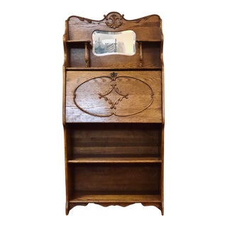 Antique Oak Victorian Secretary Desk Bookcase W/Mirror For Sale