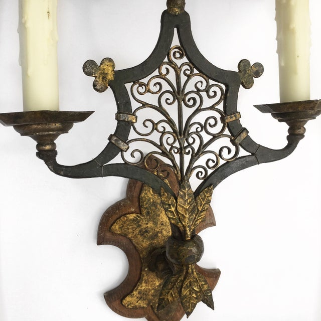Wood & Metal Sconces - A Pair - Image 3 of 5