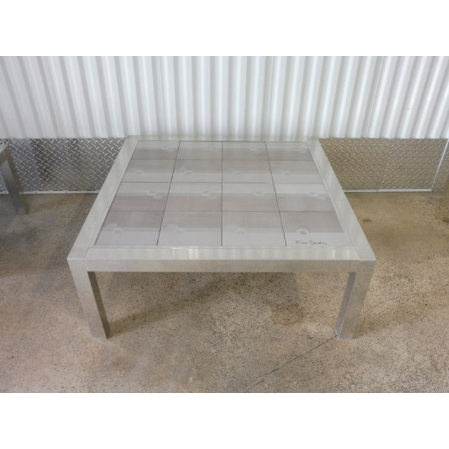 Silver Large 1970's Pierre Cardin Mod Tile Top Aluminum Coffee Table For Sale - Image 8 of 8