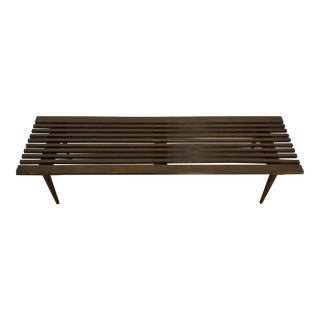 1950s Danish Modern Wood Slat Bench For Sale