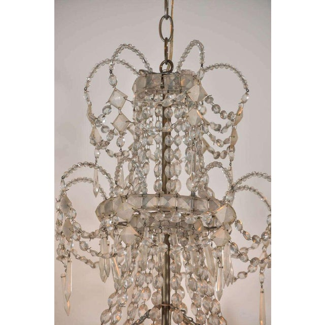 Metal Seven-Light Crystal Chandelier For Sale - Image 7 of 10
