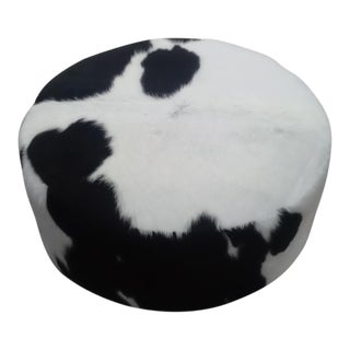 GR Black & White Cowhide Ottoman For Sale