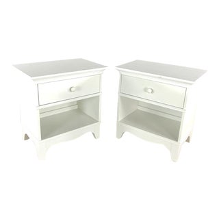 Cottage Crate and Barrel White Wooden Night Tables - a Pair For Sale