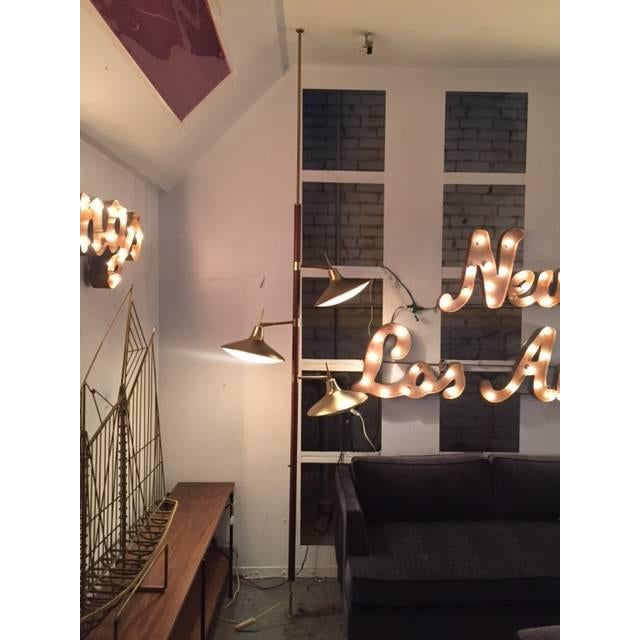 Mid-Century Brass & Wood Tension Pole Lamp - Image 8 of 11