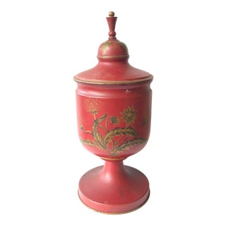 Red Tole Urn For Sale
