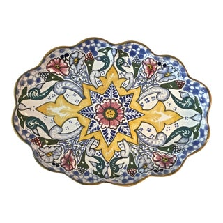 1970s Boho Chic Hand Painted Mexican Platter