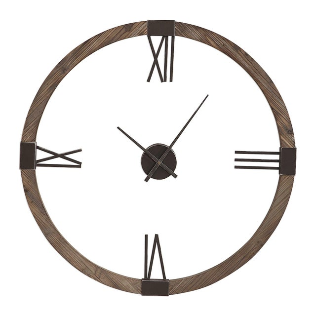 2010s Fir Wood Wall Clock For Sale - Image 5 of 5