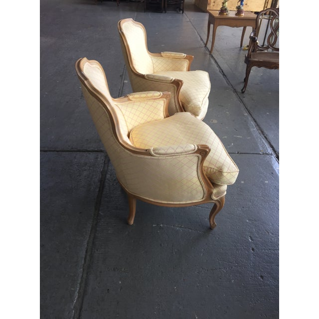 Wood Vintage Cream and Pink Striped French Style Bergere Chairs - a Pair For Sale - Image 7 of 9