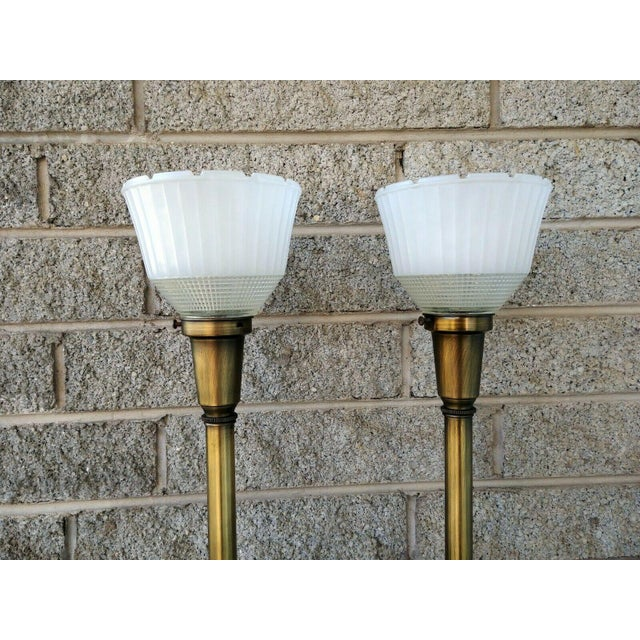 Metal Vintage Rembrandt Brass & Green Enamel Hollywood Regency Table Lamps With Diffuser - a Pair For Sale - Image 7 of 13