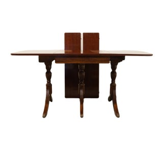"20th Century Traditional Lyon Manufacturing Co. Solid Cherry Duncan Phyfe Drop Leaf 84"" Triple Pedestal Dining Table For Sale"