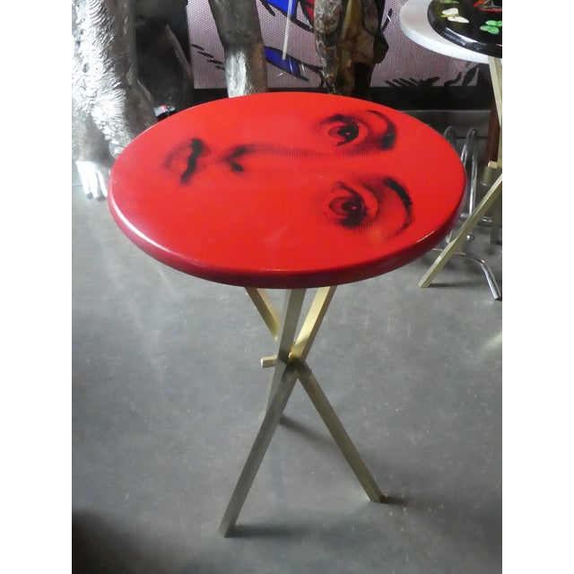 Metal 1970s Vintage Fornasetti Red Julia Side Table For Sale - Image 7 of 13