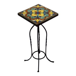 Wrought Iron California Ceramic Tile-Top Table Pedestal or Candle Stand For Sale