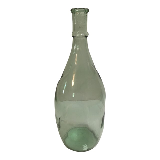Vintage Sea Green Glass Liquor Bottle - Image 1 of 6