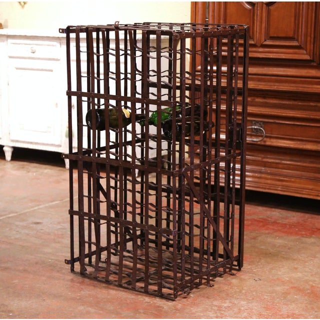 Metal 19th Century French Iron Hundred-Bottle Wine Rack Cabinet From Burgundy For Sale - Image 7 of 9