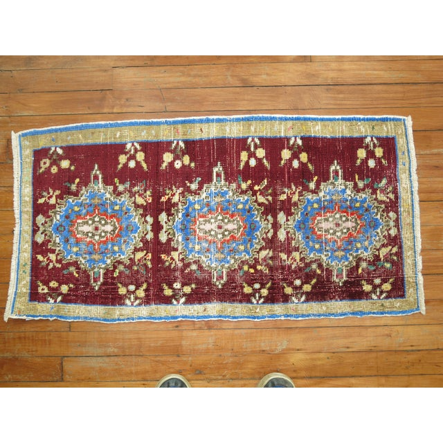 Vintage Anatolian Chinese Red Color Rug, 1'7'' x 3'2'' For Sale - Image 5 of 5