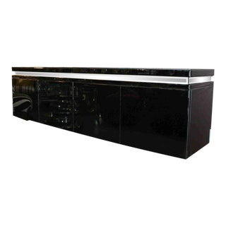 Custom Black Mirrored Cantalever Credenza For Sale