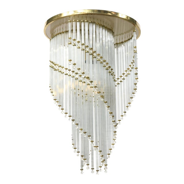 Czech Spiral Crystal Ceiling Fixture For Sale