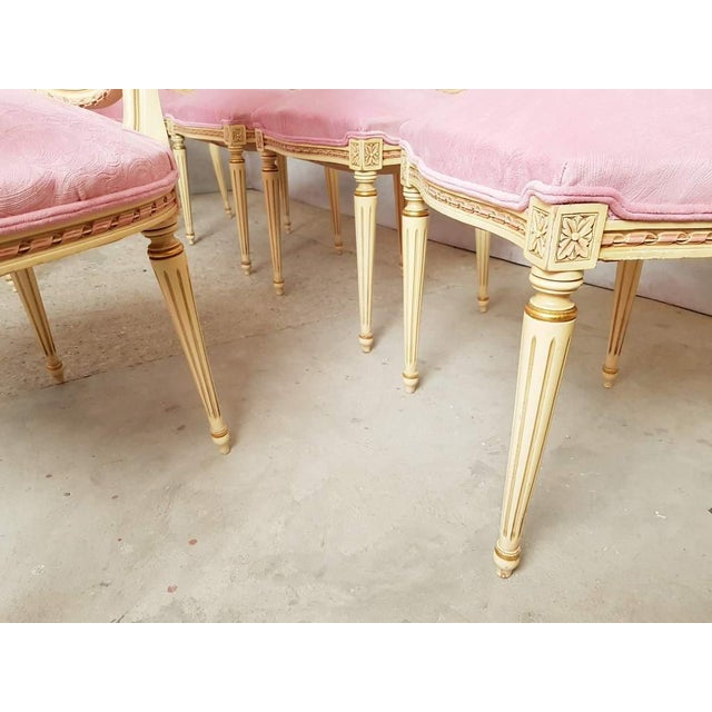 Set of 6 Antique French Louis XVI Restored in Pink Dining Chairs 2 Armchairs 4 Side Chairs For Sale - Image 9 of 13