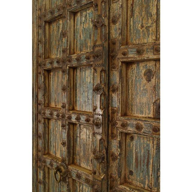 Anglo-Indian Asian Blue & White Distressed Painted and Carved Pair of Doors in a Frame For Sale - Image 3 of 8