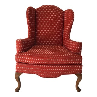 Ethan Allen Timeless Wing-Back Chair Queen Anne Style For Sale