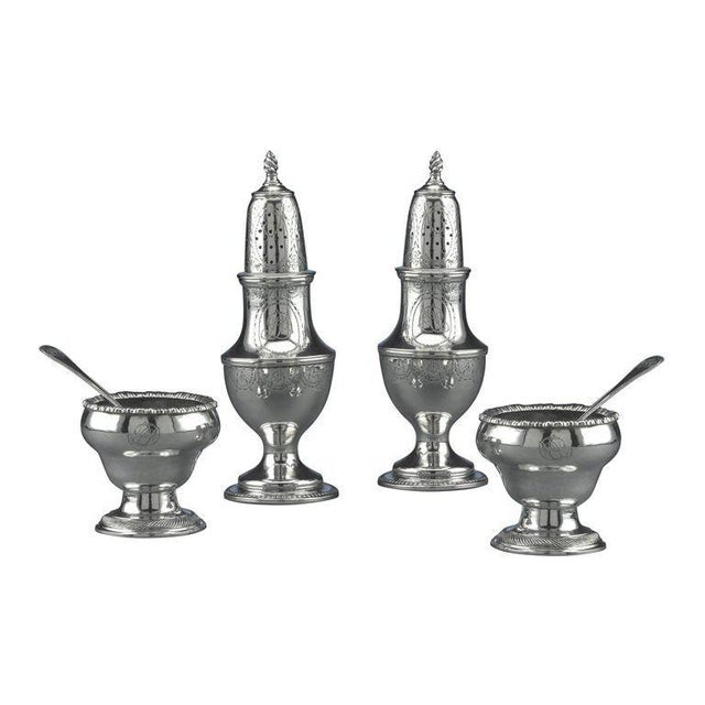 Metal Early American Silver Salt and Pepper Service Set of 4 For Sale - Image 7 of 7
