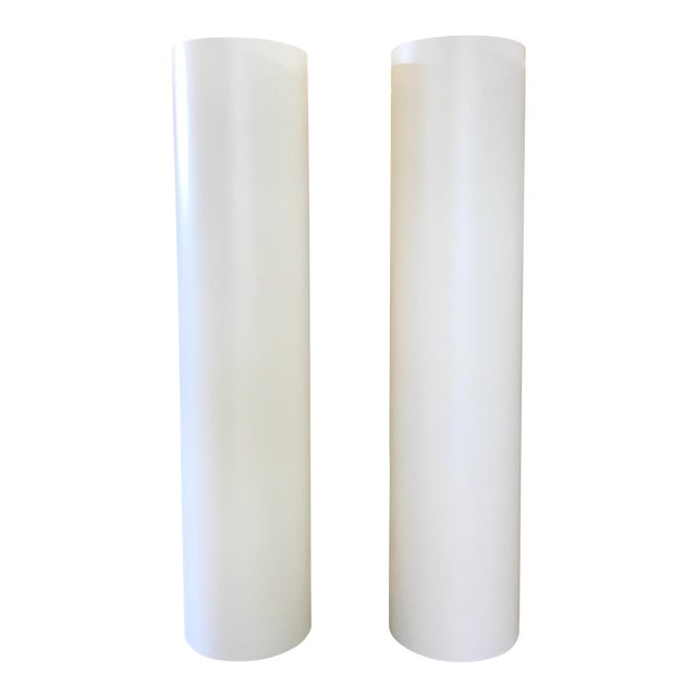 White Column Modern Floor Lamps Style of Paul Mayen For Sale