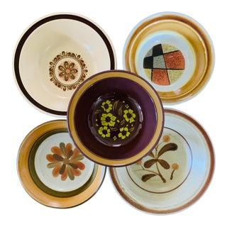 1970s Mismatched Stoneware Cereal Bowls - Set of 5 For Sale