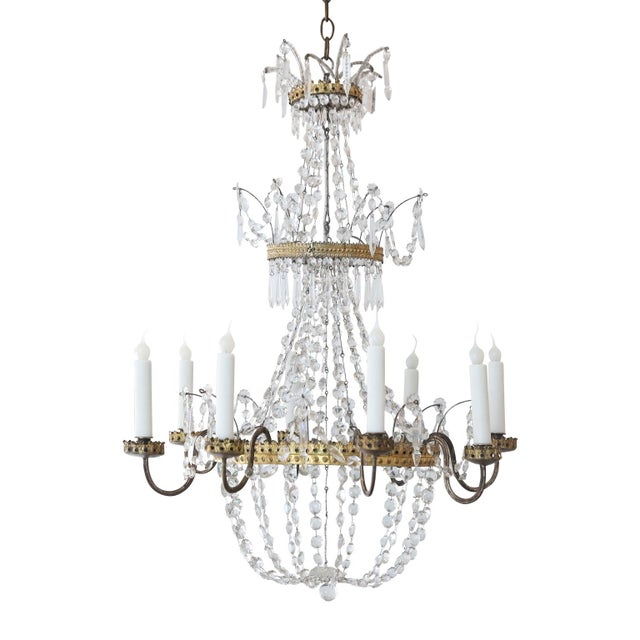 Neoclassical Italian Gilt Chandelier For Sale - Image 10 of 10