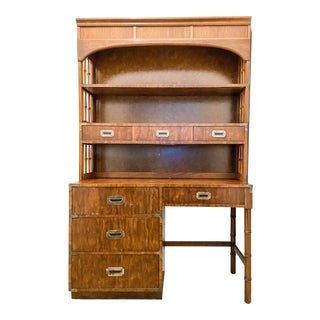Vintage 1960's Dixie Furniture Campaign Writing Desk With Hutch For Sale