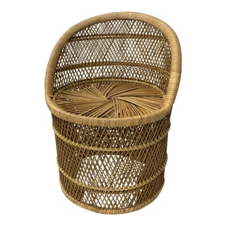 Vintage Mid-Century Rattan Wicker Chair For Sale