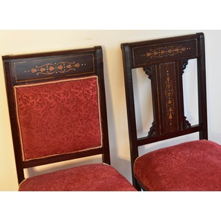 1910s English Edwardian Mahogany Inlaid Mother of Pearl Side Chairs - Set of 2 Preview