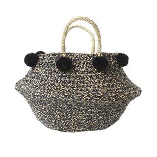 Petite Black & Natural Belly Basket - With Black Pom-Poms