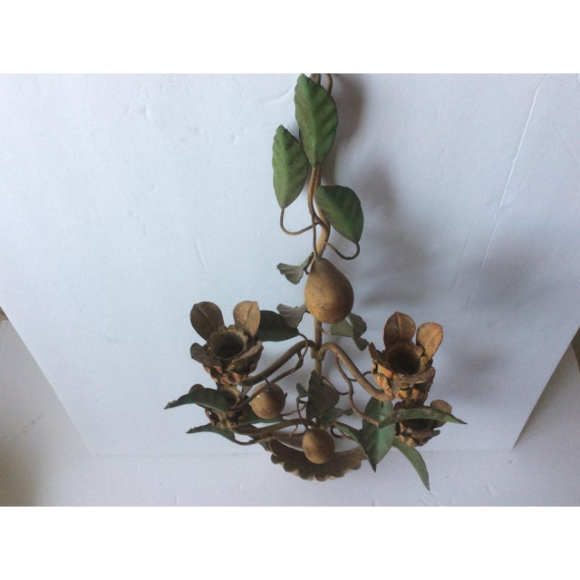 Painted Tole Wall Sconce With Alabaster Pears For Sale In San Antonio - Image 6 of 7