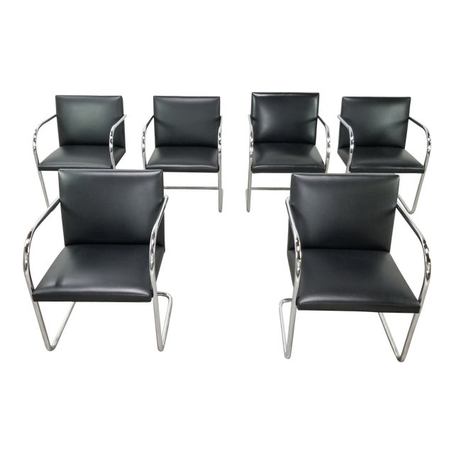 Original Knoll Brno Tubular Armchairs - Set of 6 For Sale