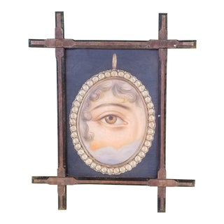 Vintage Oil Portrait Painting of a Victorian Lovers Eye Pin For Sale