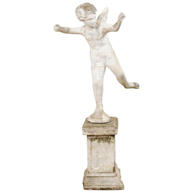 Early 20th Century French Antique Cupid Garden Statue For Sale - Image 12 of 12