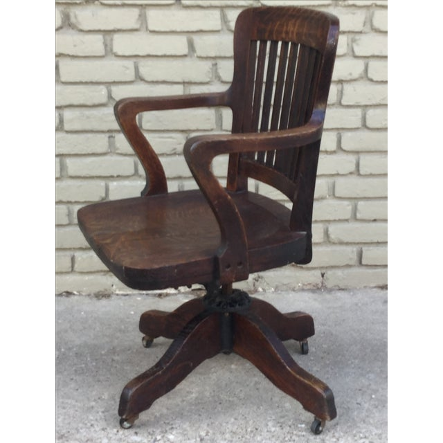 Milwaukee Chair Company Oak Office Chair For Sale In Cleveland - Image 6 of 7