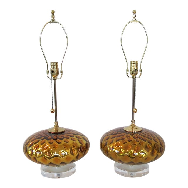 Vintage Gold Mercury Murano Glass Lamps - A Pair - Image 1 of 7