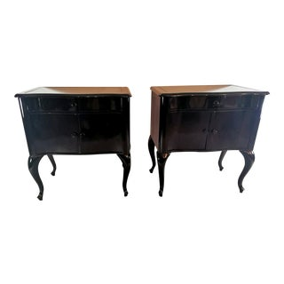 Edwardian Black Mahogany Nightstands - a Pair For Sale