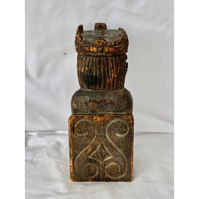 Mid-Century Modern Vintage Hand Carved Wooden King Sculpture For Sale - Image 3 of 11