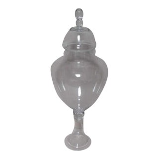19th Century Hand-Blown French Style Pedestal Foot and Lidded Apothecary Store Candy Jar For Sale