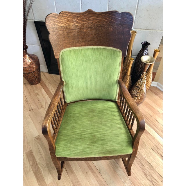 Late 19th Century Antique Oak Wood Mortise and Tenon Upholstered Rocking Chair For Sale - Image 9 of 13