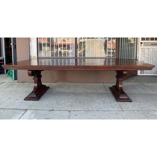 1980s Traditional Solid Wood Mahogany Dining Table For Sale - Image 12 of 12
