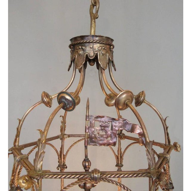 Baroque 19th Century Italian Venetian Gilt Tole Lantern with Oil Lamp For Sale - Image 3 of 7