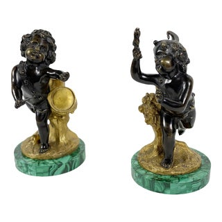 Bronze Figures on Malachite Bases - a Pair For Sale