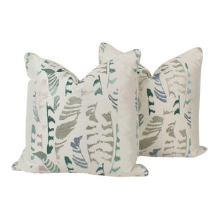 Silk Embroidered Plume Feather Pattern Custom Pillows, a Pair For Sale